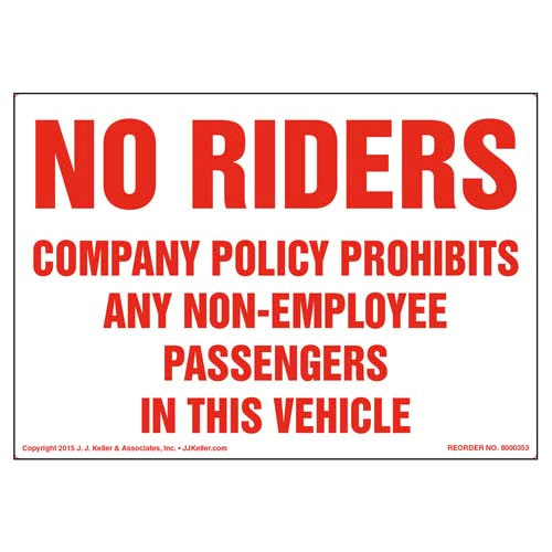 No Riders: Company Policy Label (011491)