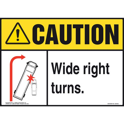 Caution: Wide Right Turns Sign - ANSI (011500)