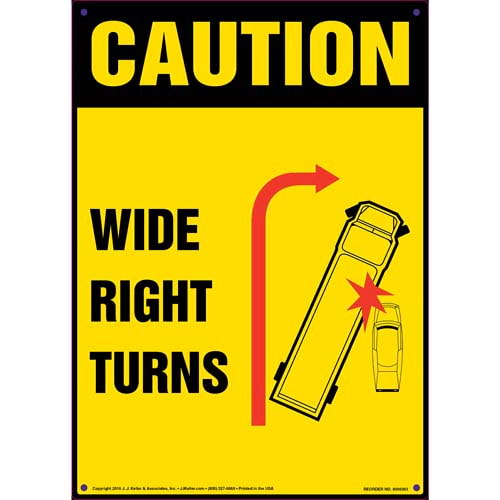 Caution: Wide Right Turns Sign - OSHA (011501)