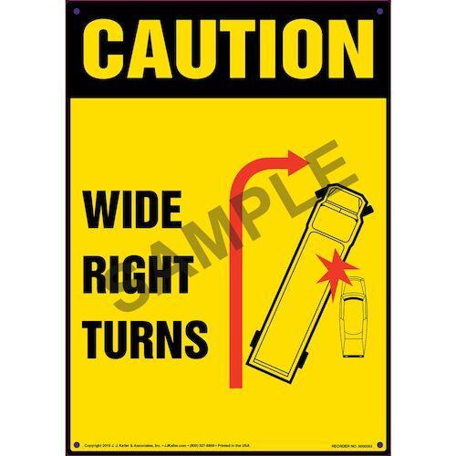 Caution: Wide Right Turns Sign - OSHA (011501)