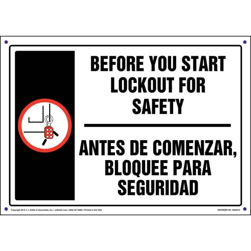 Before You Start Lockout For Safety - Bilingual Lockout/Tagout Sign (011510)
