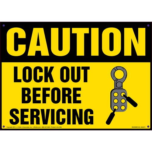 Caution: Lockout Before Servicing - OSHA Lockout/Tagout Sign (011512)