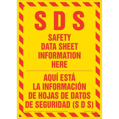 SDS Safety Data Sheet Information Here Sign - Bilingual (011517)