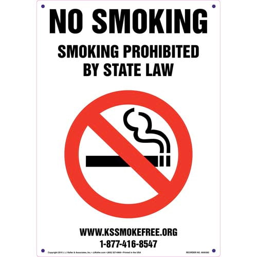 Kansas: No Smoking - Smoking Prohibited By State Law Sign (011520)