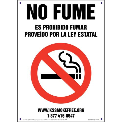 Kansas: No Smoking - Smoking Prohibited By State Law Sign - Spanish (011521)