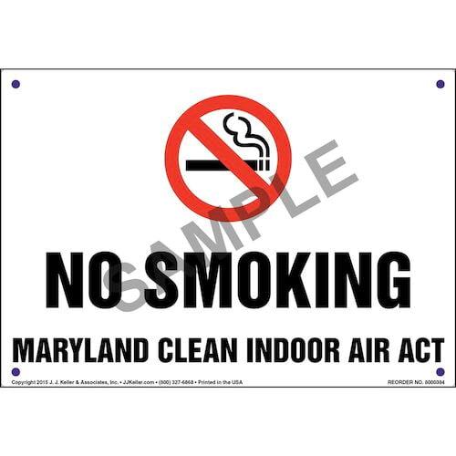Maryland Clean Indoor Air Act: No Smoking Sign (011522)