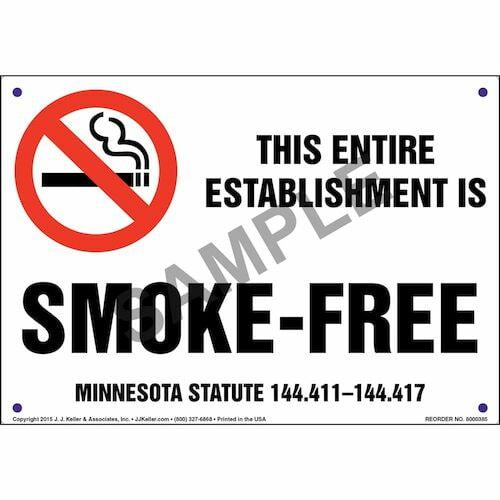 Minnesota Statute: This Entire Establishment Is Smoke-Free Sign (011523)