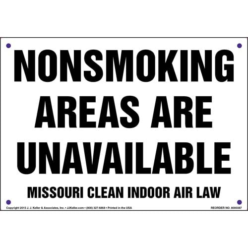 Missouri Clean Indoor Air Act: Nonsmoking Areas Are Unavailable Sign (011525)