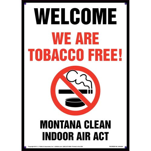 Montana Clean Indoor Air Act: Welcome, We Are Tobacco Free Sign (011526)