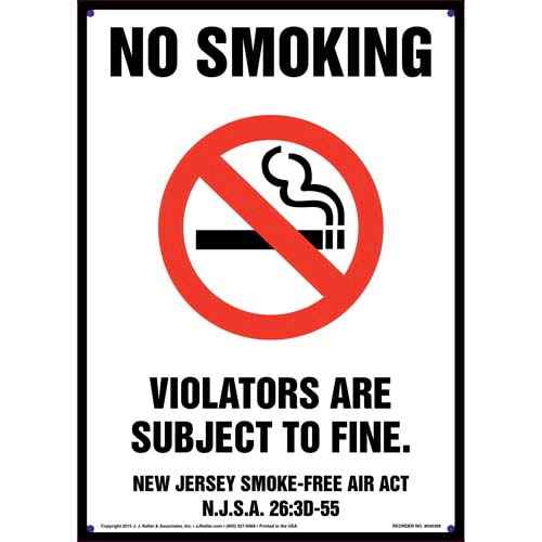 New Jersey Smoke-Free Air Act: No Smoking Sign (011527)