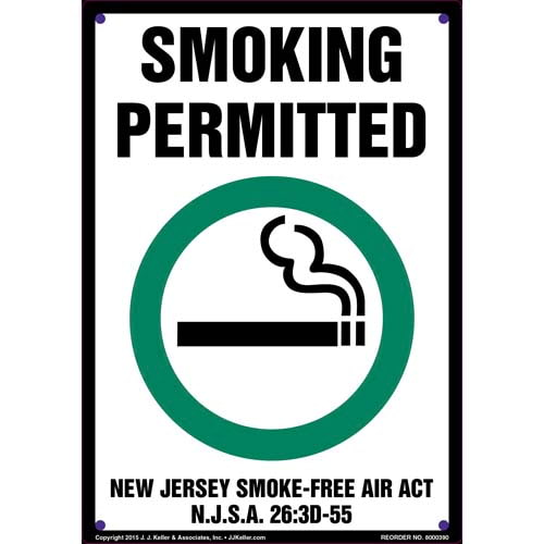 New Jersey Smoke-Free Air Act: Smoking Permitted Sign (011528)