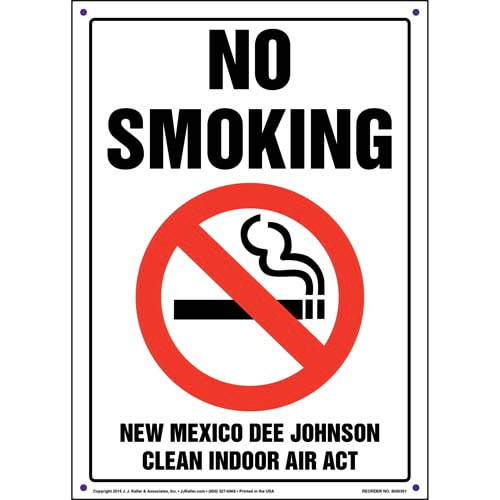 New Mexico Dee Johnson Clean Indoor Air Act: No Smoking Sign (011529)