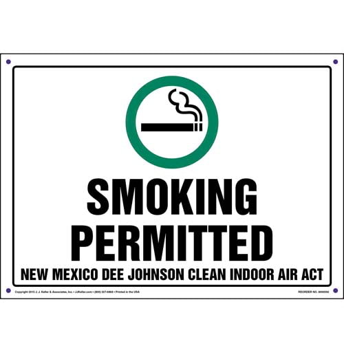 New Mexico Dee Johnson Clean Indoor Air Act: Smoking Permitted Sign (011530)
