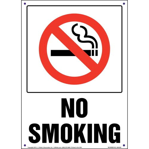 No Smoking Sign with Icon in Box - Portrait (011533)