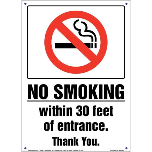 No Smoking Within 30 Feet of Entrance Sign (011534)