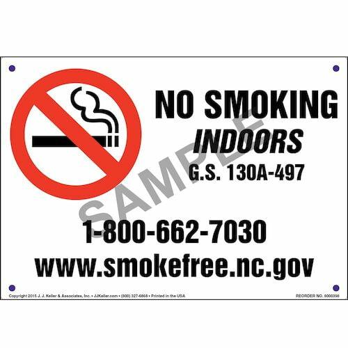 North Carolina: No Smoking Indoors Sign (011536)