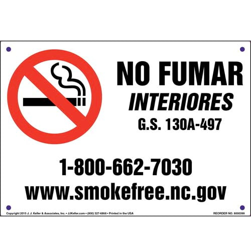 North Carolina: No Smoking Indoors Sign - Spanish (011537)