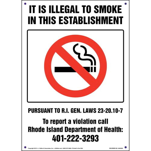 Rhode Island: It Is Illegal to Smoke in This Establishment Sign (011544)