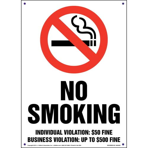 Tennessee: No Smoking Individual Violation $50 Business up to $500 Fine Sign (011547)