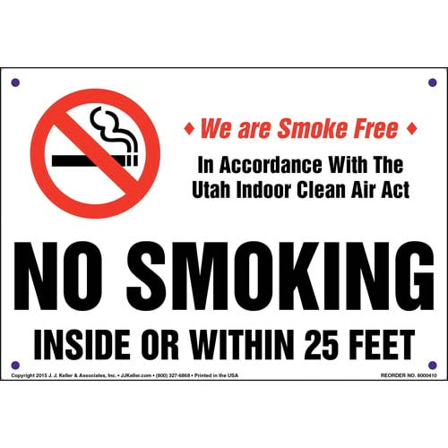 Utah Indoor Clean Air Act: No Smoking Inside or Within 25 Feet Sign (011548)