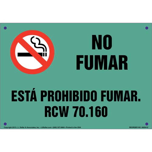 Washington Clean Indoor Air Act: Smoking Prohibited Sign - Spanish (011550)