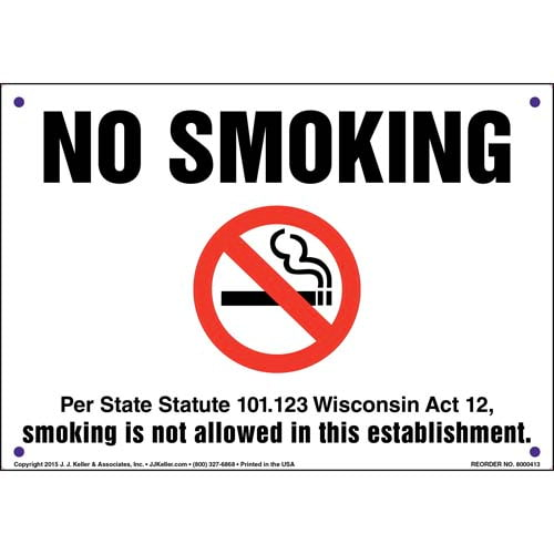 Wisconsin State Statute: No Smoking Sign (011551)