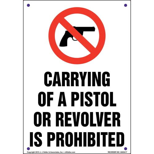 Mississippi: Carrying of a Pistol or Revolver is Prohibited Sign (011555)