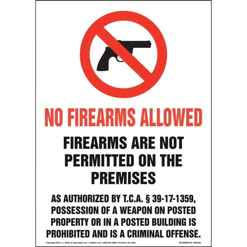 Tennessee: Firearms Are Not Permitted On The Premises Sign (011558)