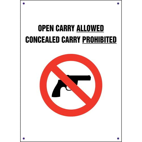 Kansas: Open Carry Allowed, Concealed Carry Prohibited Sign (011561)