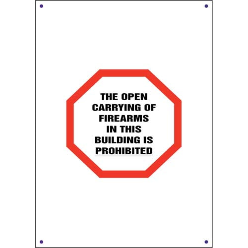 Kansas: Open Carry of Firearms in Building is Prohibited Sign (011562)