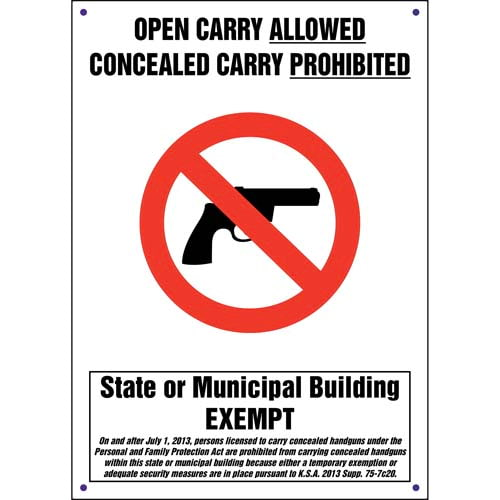 Kansas: Concealed Carry Prohibited State or Municipal Building Exempt Sign (011563)