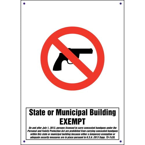 Kansas: State or Municipal Building Exempt - Concealed Weapons Sign (011564)