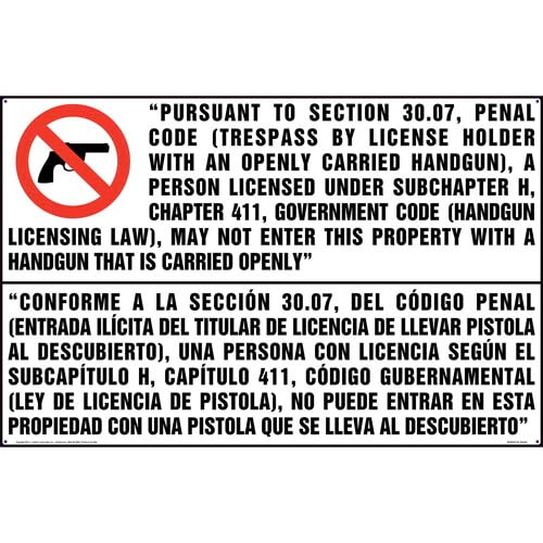 Texas: No Entry to Property with Openly Carried Handgun Sign (Bilingual) (011574)