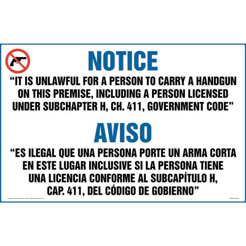 Texas: Licensed or Unlicensed Possession of Weapon on Premises is a Felony Sign (Bilingual) (011577)