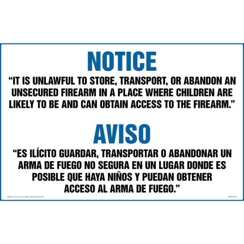 Texas: Unlawful to Contain an Unsecured Firearm Where Children are Present Bilingual Sign (011578)