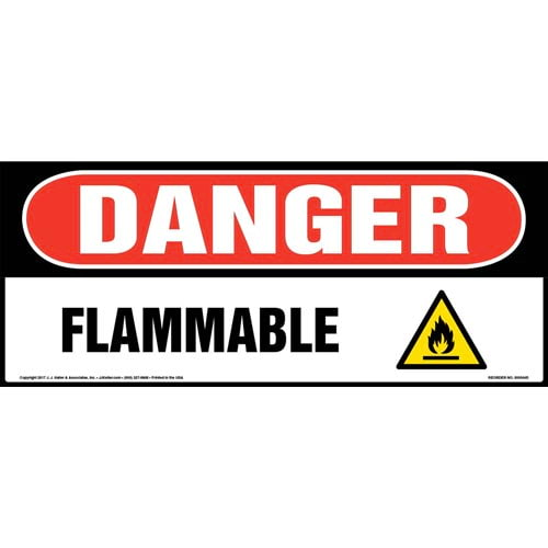 Danger: Flammable Sign with Icon - OSHA, Long Format (010413)