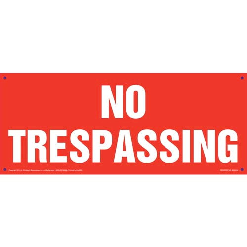 No Trespassing Sign - White Text on Red, Long Format (010414)