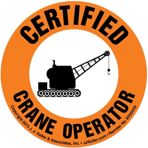 Certified Crane Operator Hard Hat/Helmet Decal (010417)