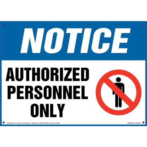 Notice: Authorized Personnel Only Sign with Person Icon - OSHA (010428)