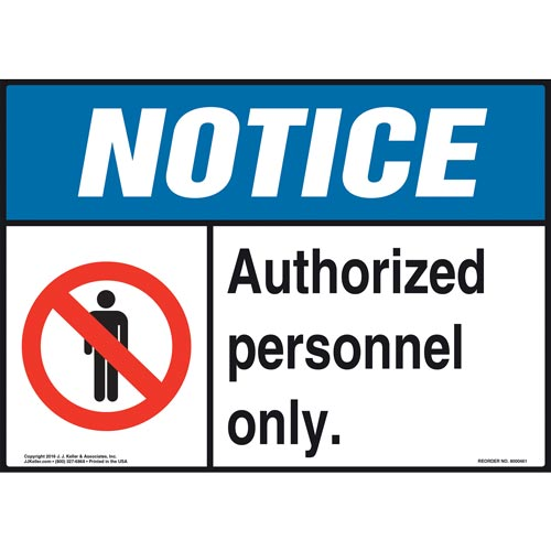 Notice: Authorized Personnel Only Sign with Person Icon - ANSI (010429)