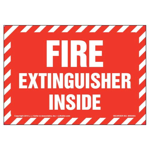 Fire Extinguisher Inside Label - White Text on Red, Striped Border (010433)