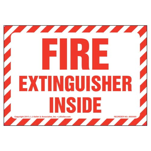 Fire Extinguisher Inside Label - Red Text on White, Striped Border (010434)
