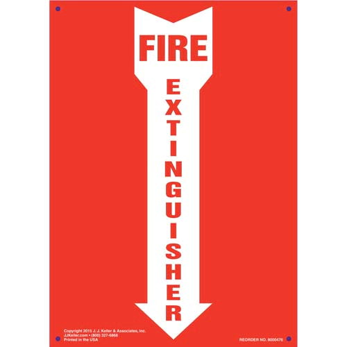 Fire Extinguisher Sign - Down Arrow, Portrait (010444)