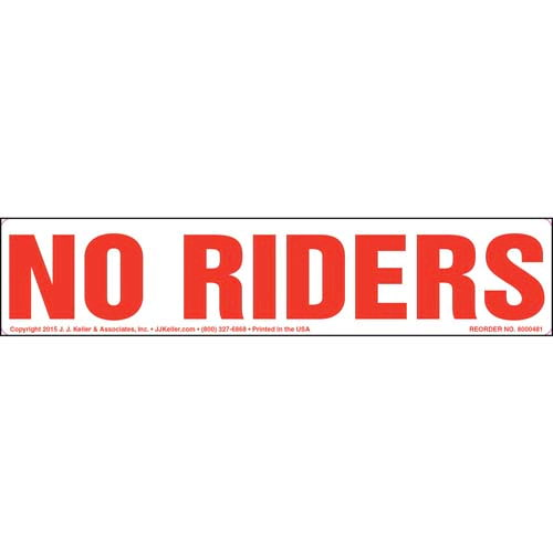 No Riders Label - Narrow (010449)