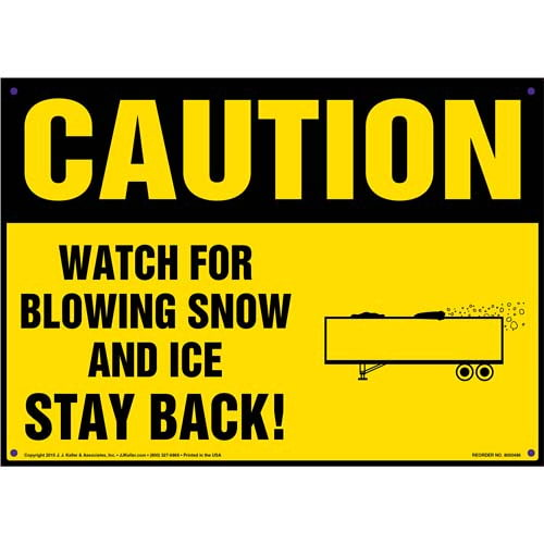 Caution: Watch For Blowing Snow And Ice, Stay Back Sign - OSHA (011715)