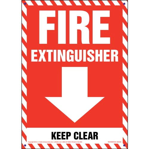 Fire Extinguisher, Keep Clear Sign (011725)