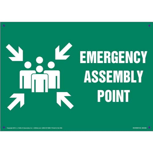 Emergency Assembly Point Sign with Icon (011727)