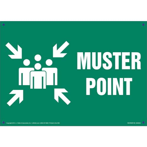 Muster Point Sign with Icon (011729)