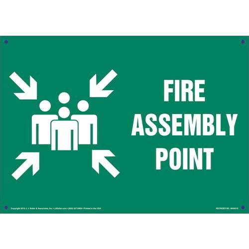 Fire Assembly Point Sign - Green, with Icon (011739)
