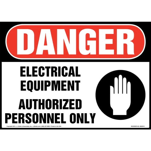 Danger: Electrical Equipment Authorized Personnel Only - OSHA Sign (011747)